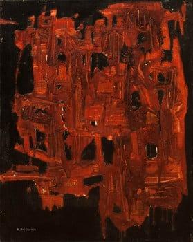 """אפרים מודזלביץ, 1969, פוליאסטר, שמן וטכניקה מעורבת על בד, 75x60 ס""""מ"""