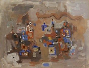 """אפרים מודזלביץ, 1956, גואש על קרטון, 40x52 ס""""מ"""