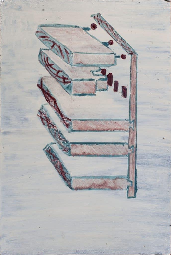 """עדו בר אל, """"מעליות"""", שמן על לוח עץ, 76x51 ס""""מ"""