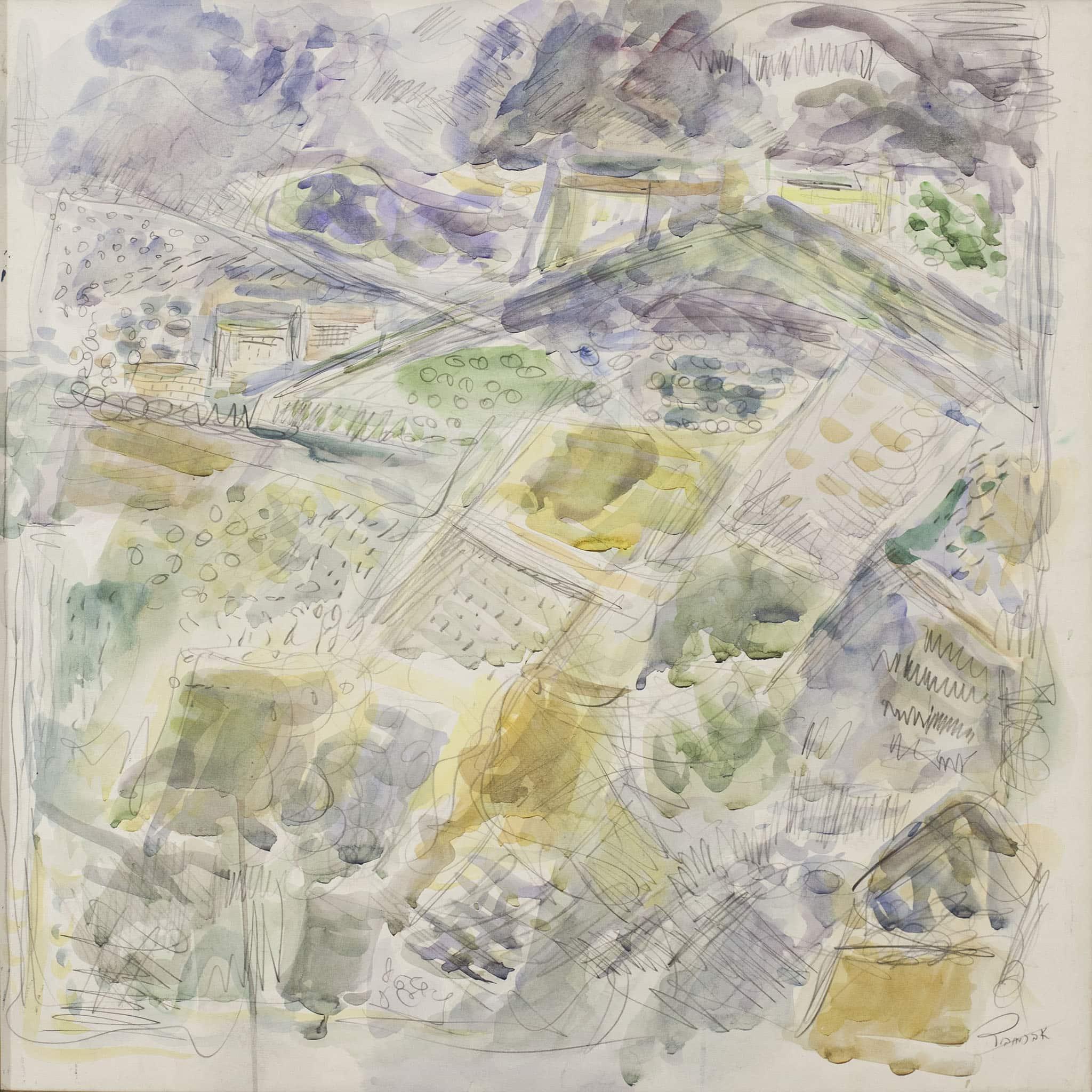"""פנחס אברמוביץ, """"נוף"""", אקוורל ועיפרון על נייר, 65x65 ס""""מ."""