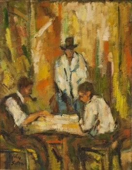 """חיים סיטון, """"משחק קלפים"""", שמן על בד, 45x35 ס""""מ"""