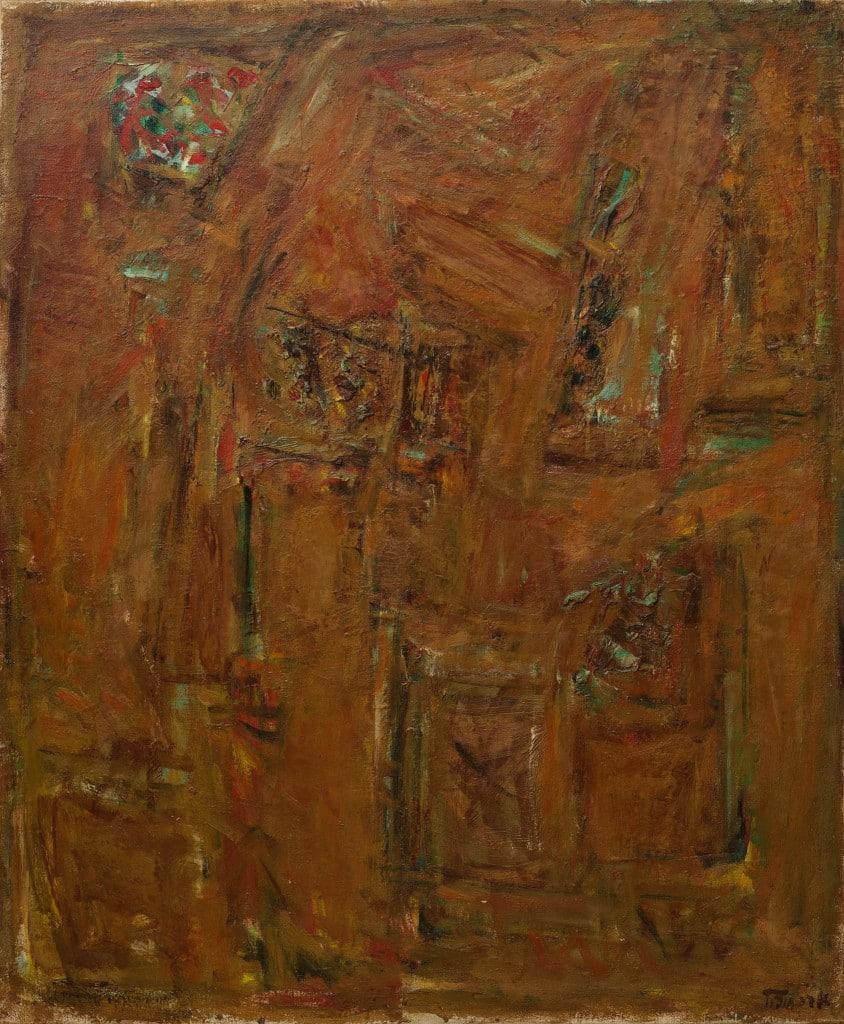 """פנחס אברמוביץ', 1963, שמן על בד, 80x66 ס""""מ"""