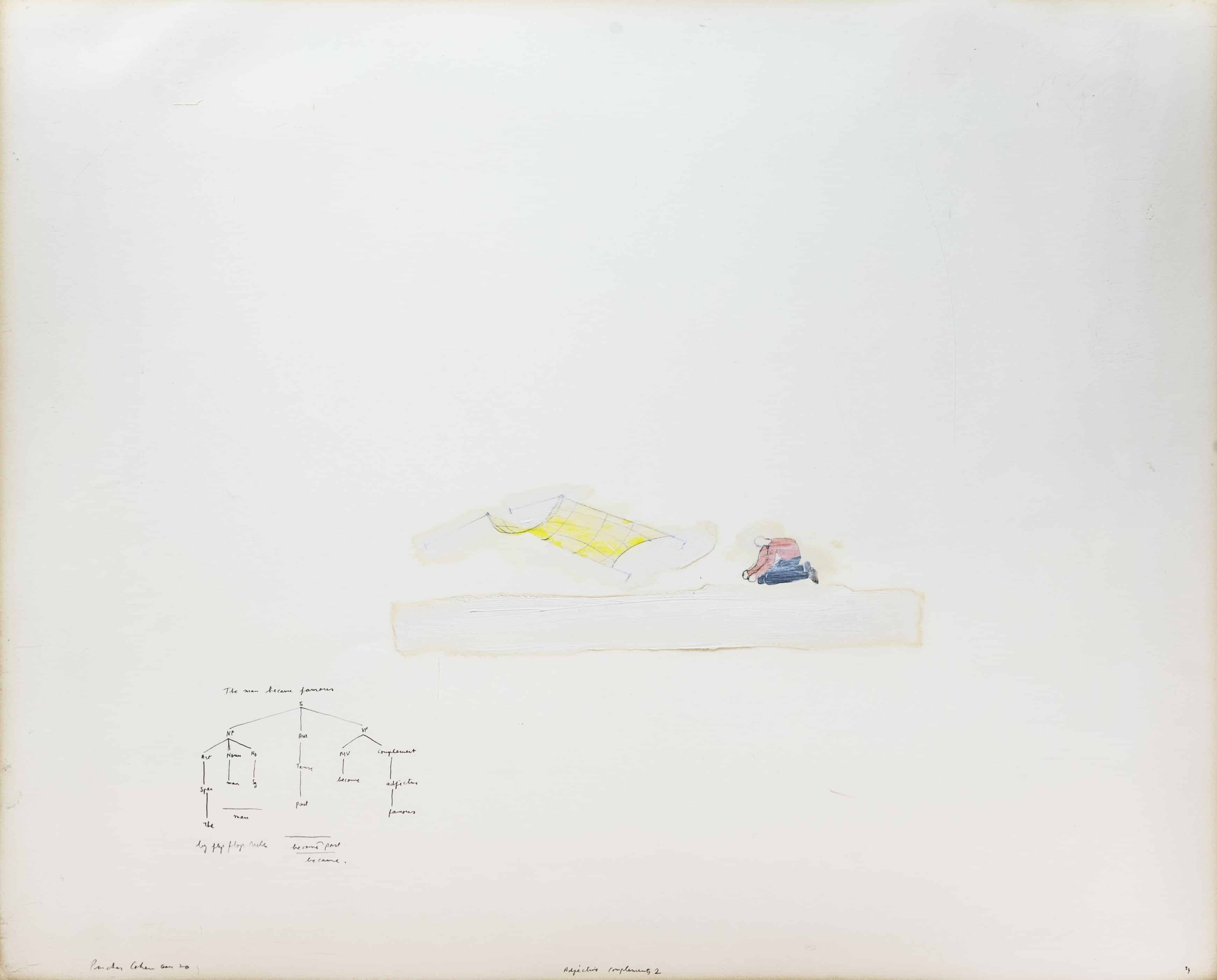"""פנחס כהן גן, 1976, """"Adverbs of Compliments"""", עפרונות צבעוניים וצבע מדולל על נייר"""
