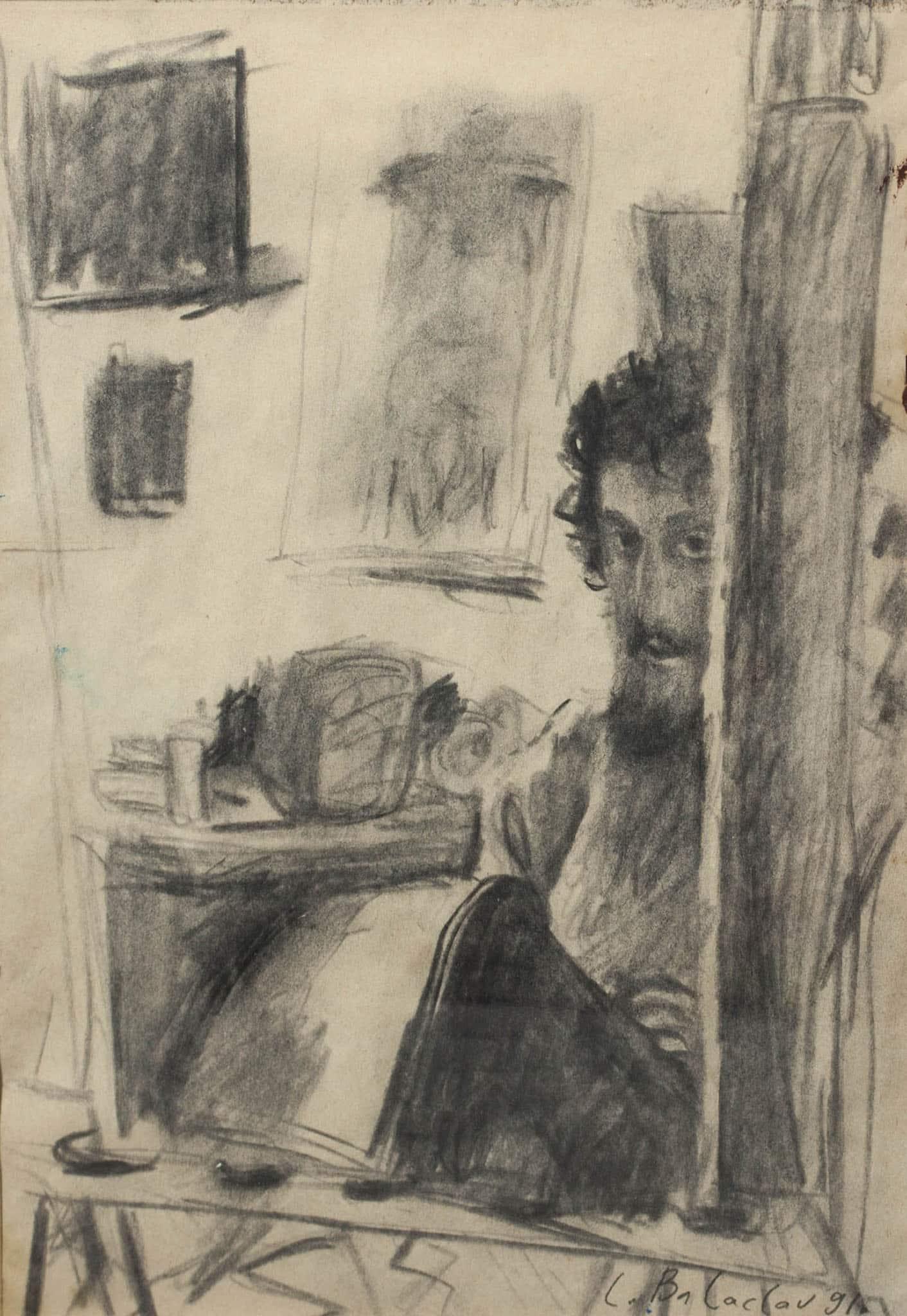 """לאוניד בלקלב, """"דיוקן האמן בסטודיו"""", 1991, פחם על נייר, 29x20 ס""""מ"""