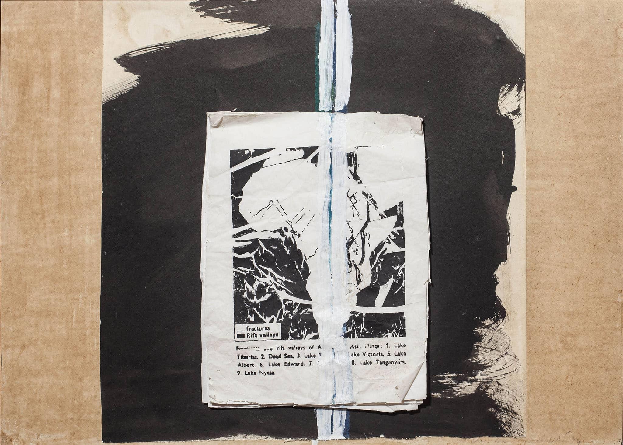 """פנחס כהן גן, 1974, """"כף התקווה הטובה"""", קולאז', אקריליק וטכניקה מעורבת על קרטון, 70x50 ס""""מ"""