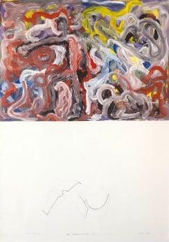 """פנחס כהן גן, """"עימותי נוסחה וציור"""", 1982, עיפרון ואקריליק על נייר, 100x70 ס""""מ"""