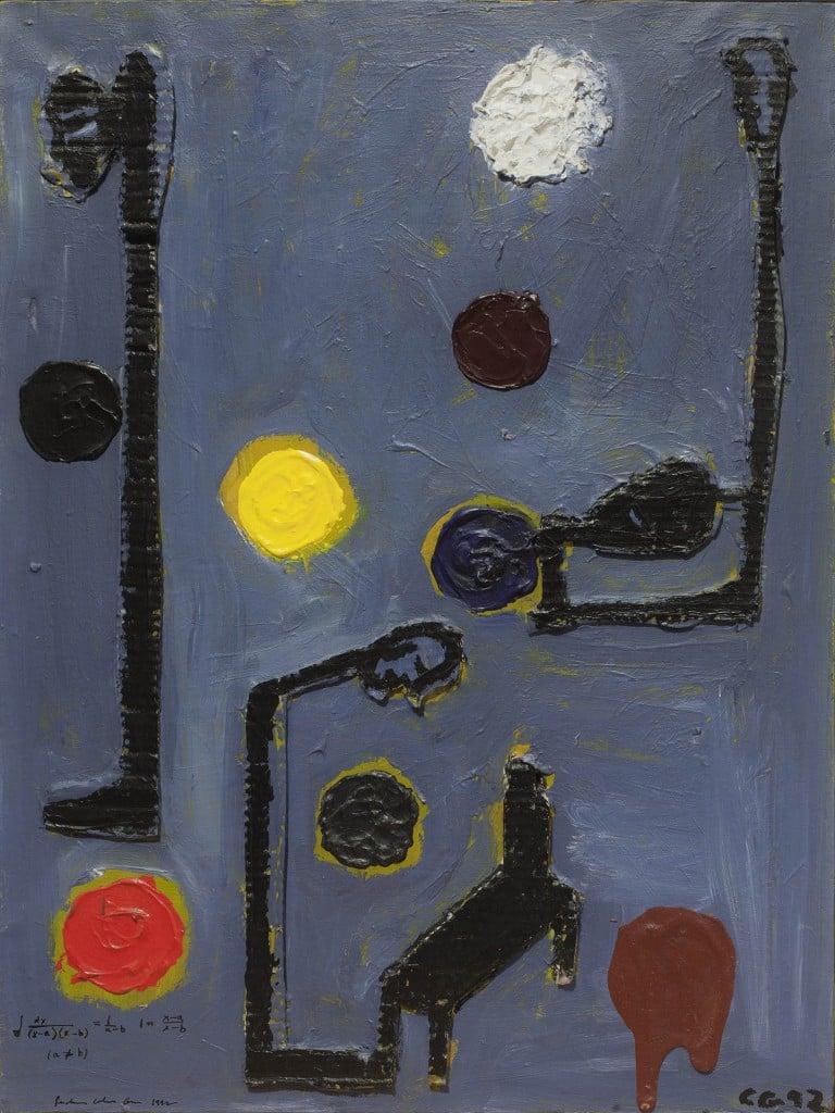 """פנחס כהן גן, 1992, שמן וטכניקה מעורבת על בד, 60x80 ס""""מ"""
