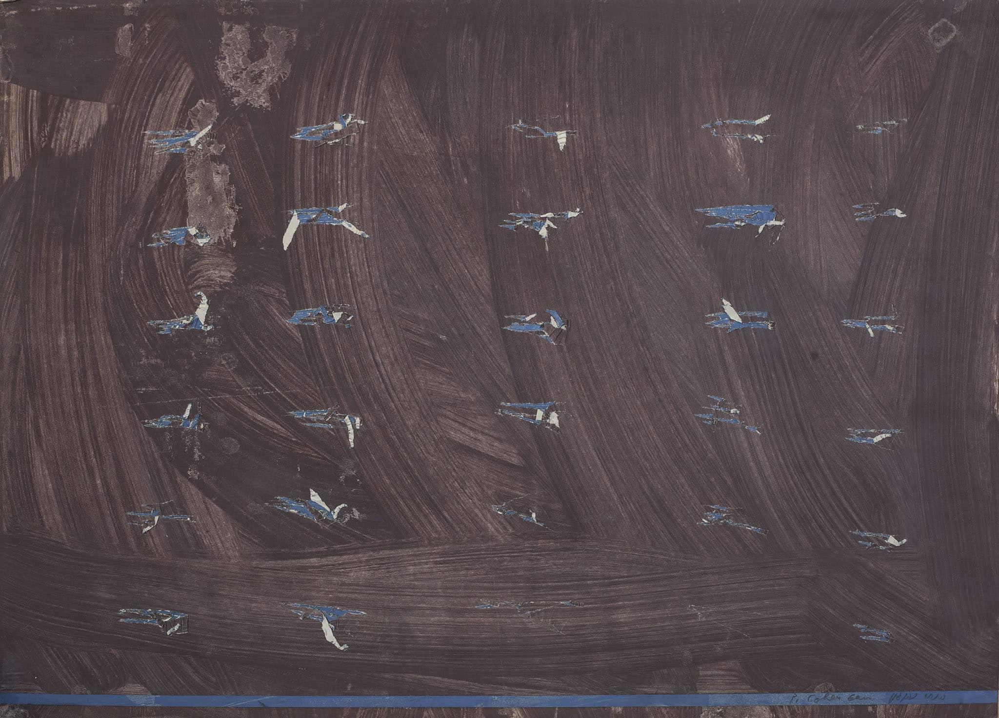 """פנחס כהן גן, """"מתוך סדרת העיתונים"""", 1973, גואש וטכניקה מעורבת על נייר עיתון, 52x70 ס""""מ"""