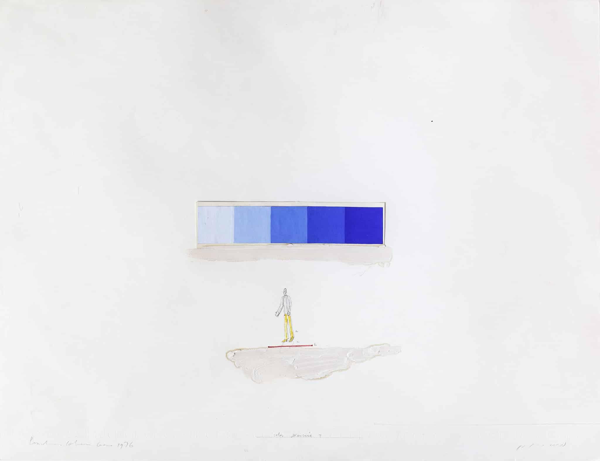 """פנחס כהן גן, """"בחינת צבעים T"""", 1976, שמן, קולאז' וטכניקה מעורבת על נייר, 65x50 ס""""מ"""