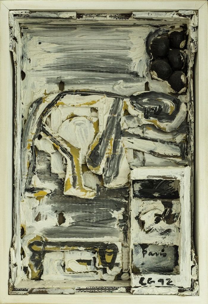 """פנחס כהן גן, """"ללא כותרת"""" 1992, שמן ואסמבלז' בתוך קופסת עץ, 44x63 ס""""מ"""