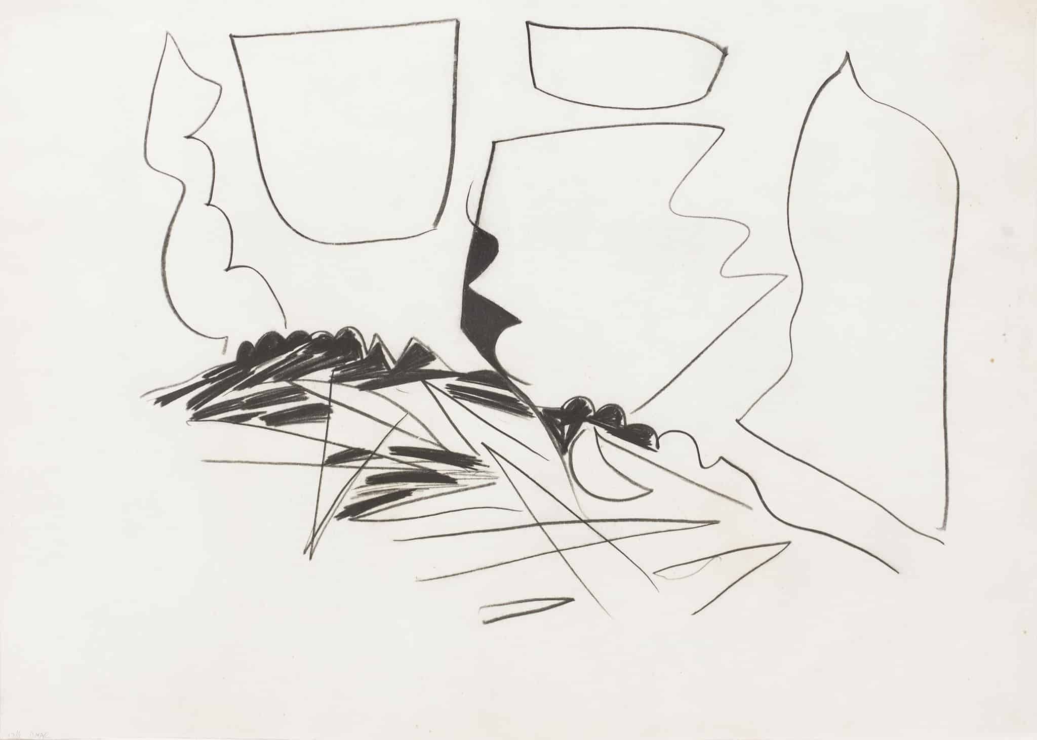 """אביבה אורי, עיפרון ופחם על נייר, 70x50 ס""""מ"""