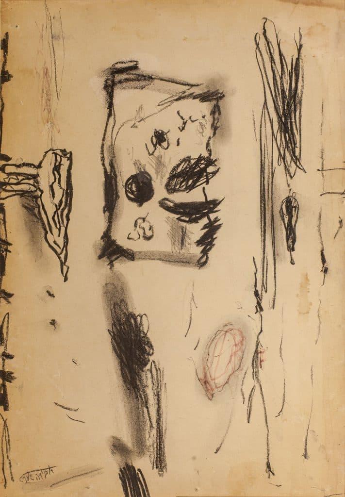 """אביבה אורי, """"ללא כותרת"""", פחם ועפרונות צבעוניים על נייר, 36x25 ס""""מ"""