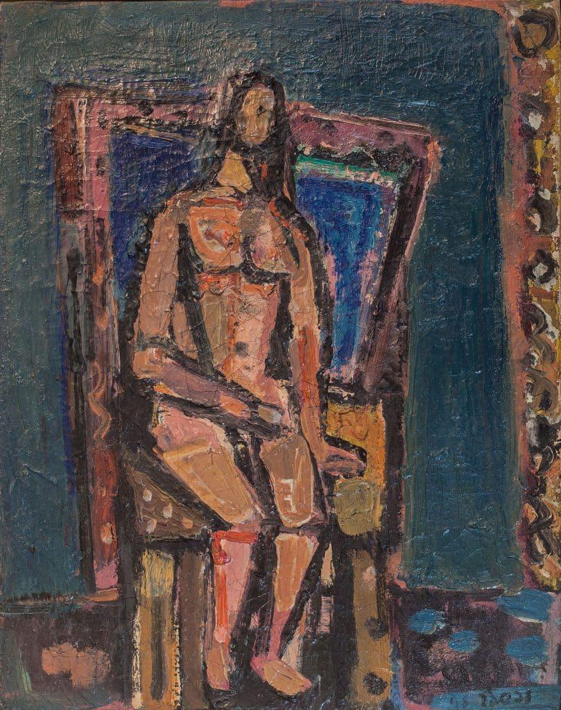 """יעקב וכסלר, """"אישה בסטודיו"""", 1943, שמן על בד, 50x40 ס""""מ"""