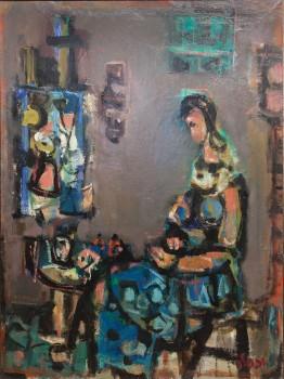 """יעקב וכסלר, 1947, """"מודל בסטודיו"""", שמן על בד, 80x60 ס""""מ"""