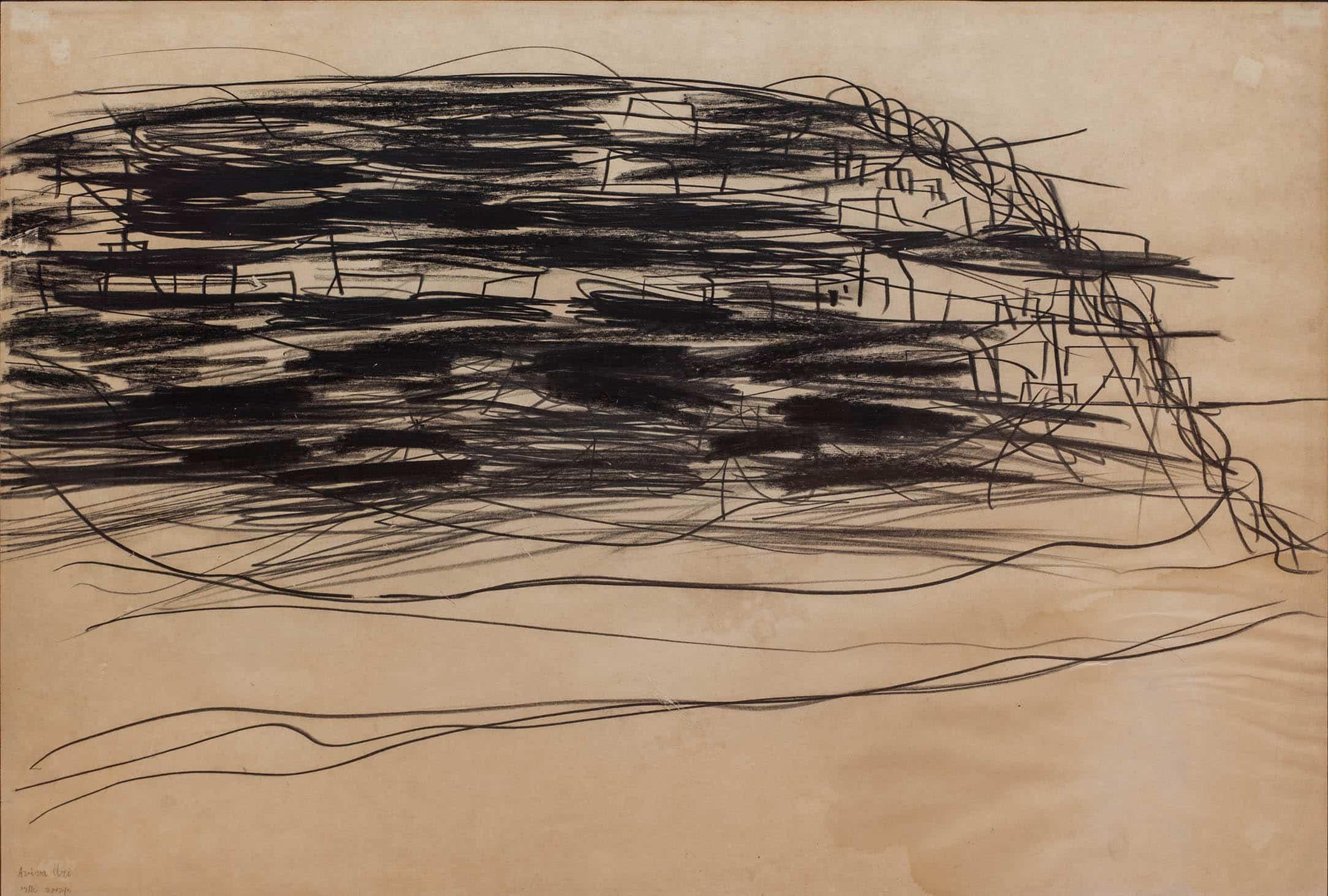 """אביבה אורי, גיר שחור על נייר, 70x50 ס""""מ"""
