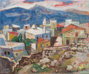"""יעקב איזנשר, """"נוף צפת"""", שמן על בד, 55x46 ס""""מ"""