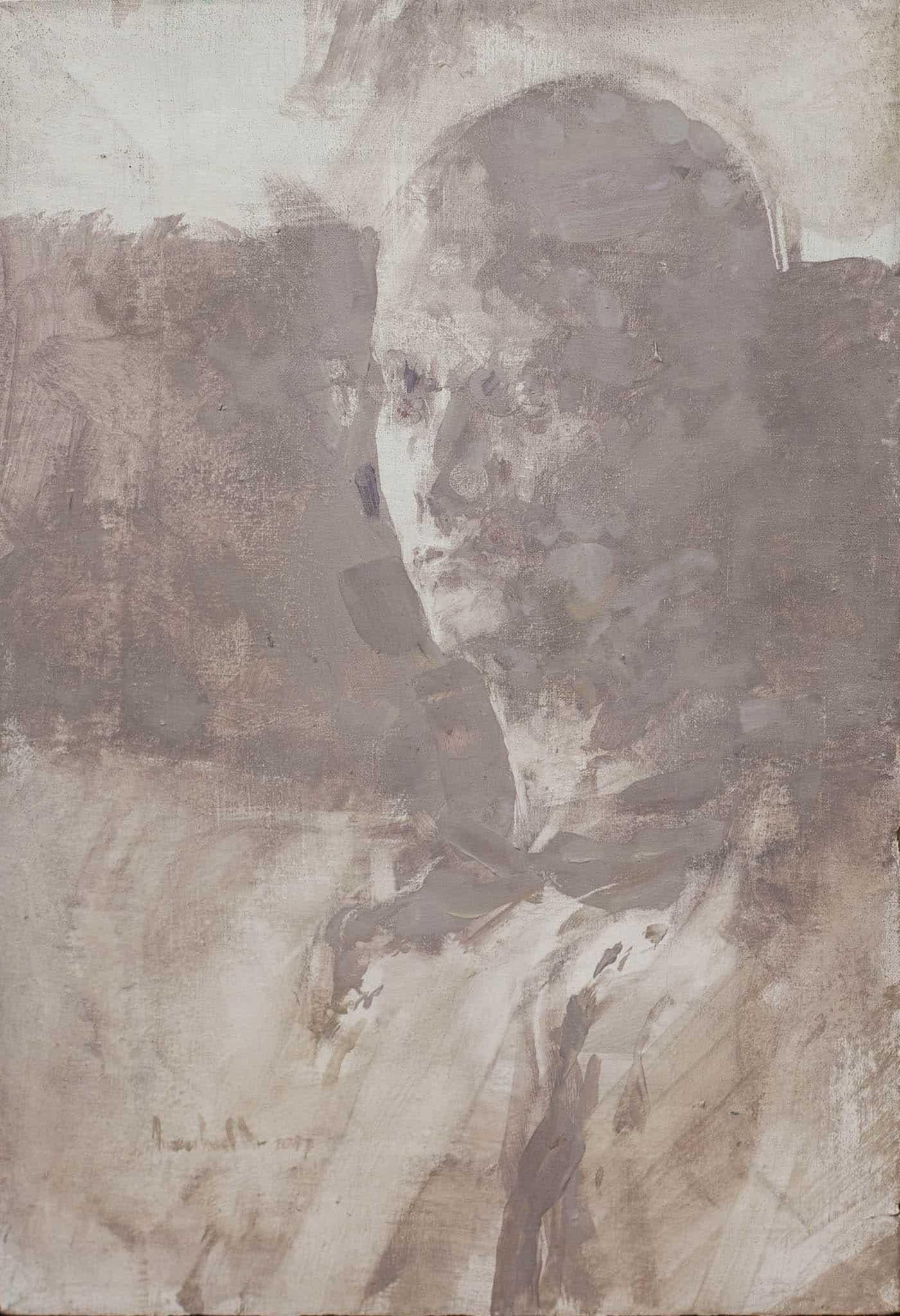 """אמנון דוד ער, """"דיוקן עצמי"""", 2007, שמן על בד, 26x38 ס""""מ"""