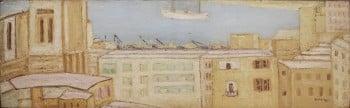 """יהושע גרוסברד, """"נמל חיפה"""", 1974, שמן על קרטון, 81x25 ס""""מ"""