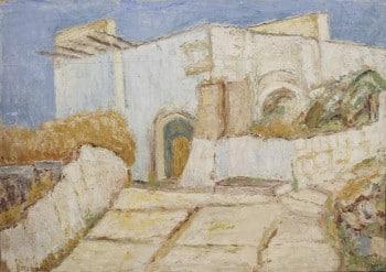 """יהושוע גרוסברד, """"בית בצפת"""", 1948, שמן על קרטון, 48x34 ס""""מ"""