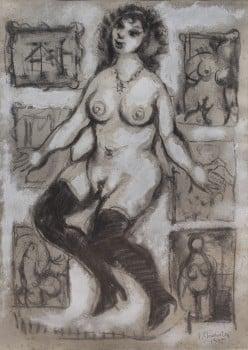 """יעקב וכסלר, """"אישה בסטודיו"""", 1935, פחם וגואש על נייר, 34x48 ס""""מ"""