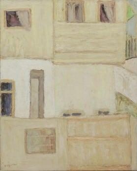 """יהושע גרוסברד, """"בתים בחיפה"""", שמן על קרטון, 48x38 ס""""מ"""