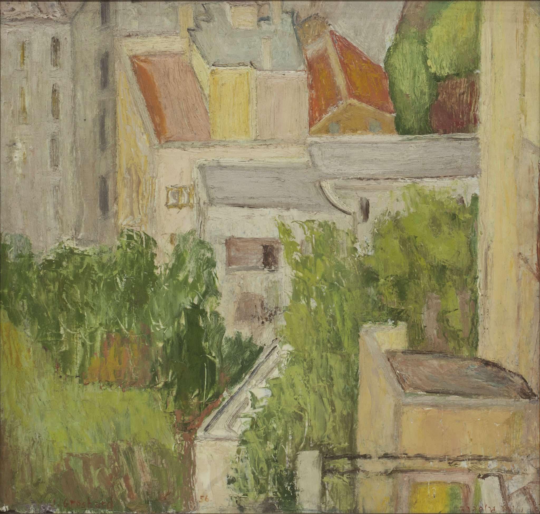 """יהושע גרוסברד, """"חיפה"""", 1956, שמן על לוח עץ, 42x40 ס""""מ"""