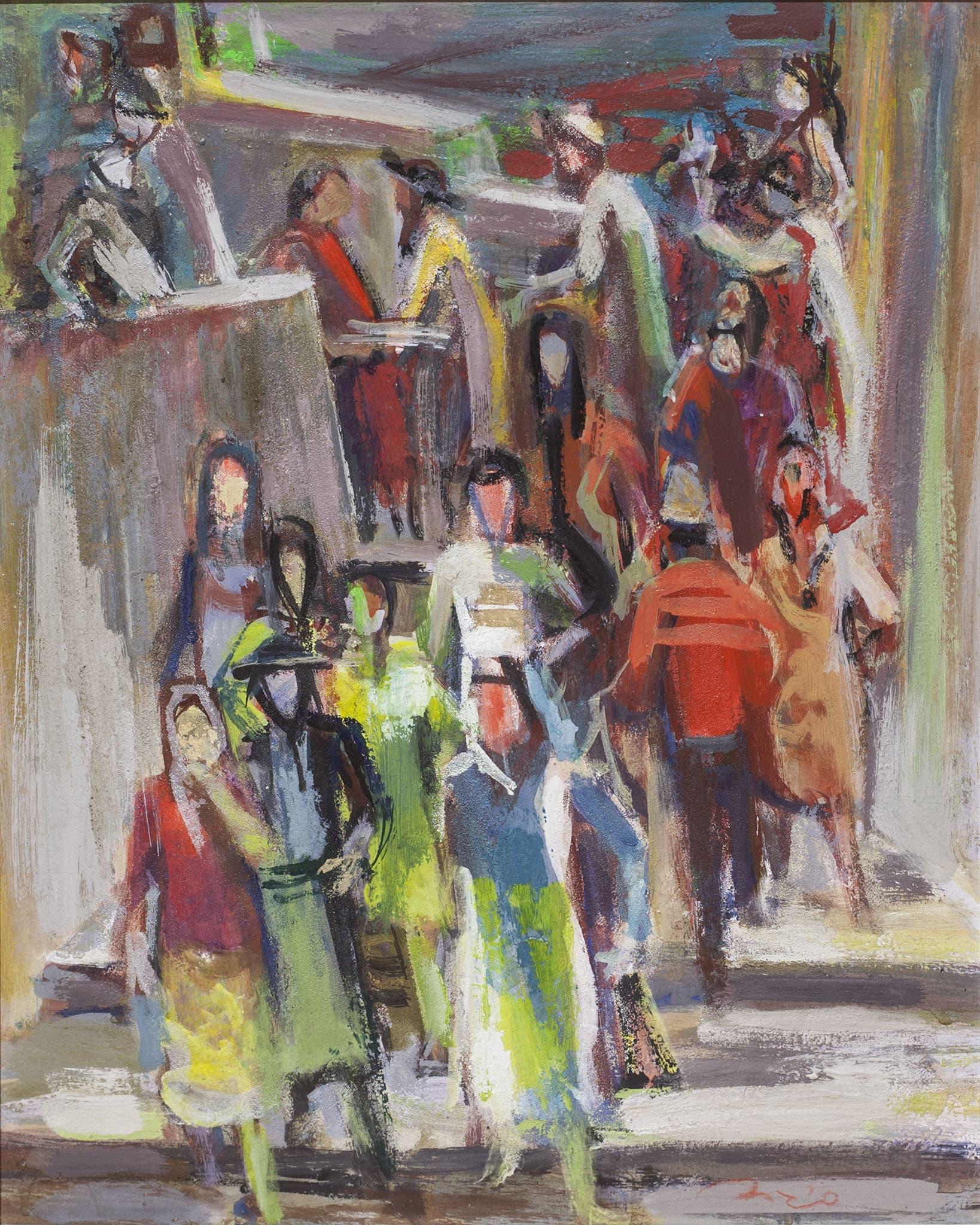 """אליהו סיגרד, """"בבית הכנסת"""", שמן על עץ, 35x45 ס""""מ"""