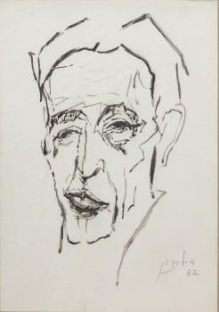 """מרדכי לבנון, """"דיוקן עצמי"""", 1962, דיו על נייר, 31x44 ס""""מ"""