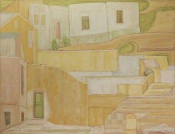 """יהושע גרוסברד, """"בתים בחיפה"""", 1969, שמן על בד, 130x100 ס""""מ"""