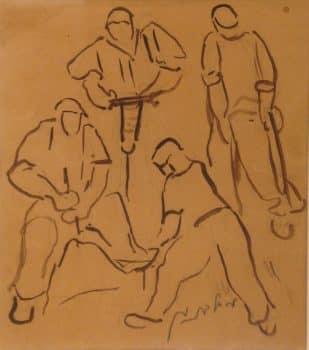 """מרדכי לבנון, """"פועלים"""", אקוורל על נייר, 23x27 ס""""מ"""