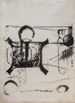"""אביבה אורי, """"ללא כותרת"""", 1972, פנדה ופחם על נייר, 54x74 ס""""מ"""