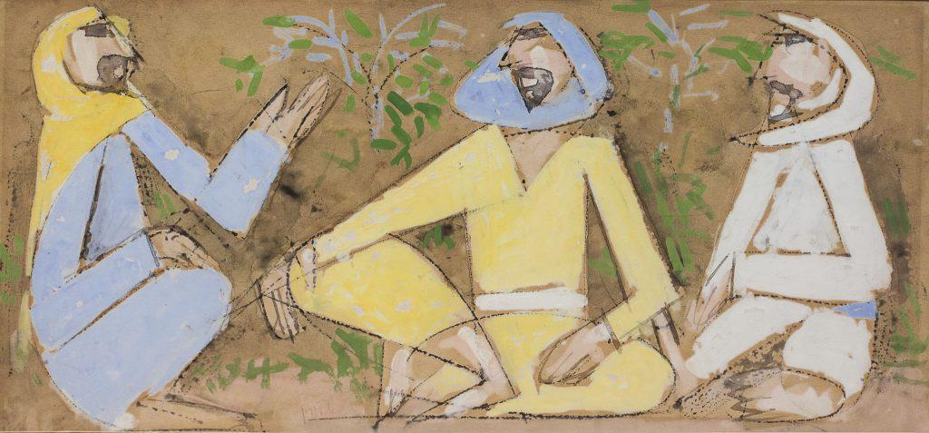 """אריה לובין, """"דמויות מזרחיות"""", גואש על נייר, 20x43 ס""""מ"""