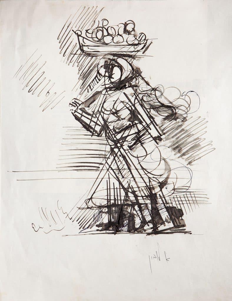"""אריה לובין, """"אישה ערביה"""", דיו על נייר, 29x23 ס""""מ"""