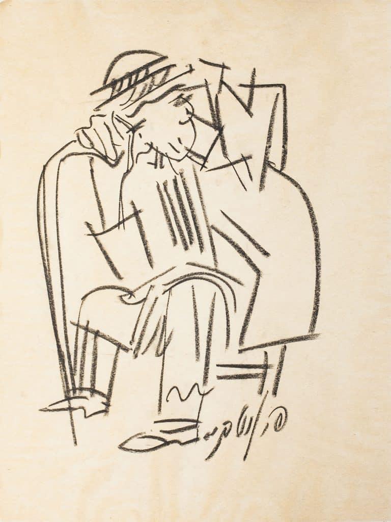 """פנחס ליטבינובסקי, """"דמות מזרחית"""", גירי פסטל על נייר, 60x45 ס""""מ"""