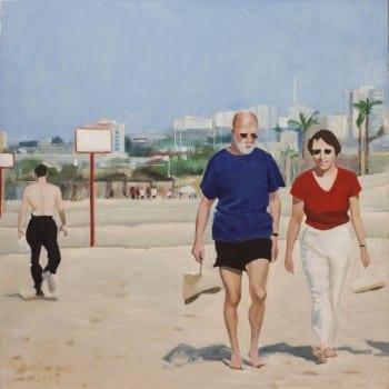 """אנה פסטרנק, 2005, """"ברגליים יחפות"""", שמן על בד, 73x73 ס""""מ"""