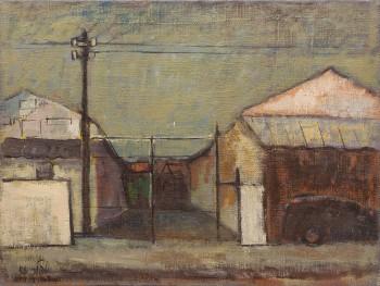 """שמואל טפלר, """"נוף אורבני"""", 1956, שמן על בד, 73x55 ס""""מ"""