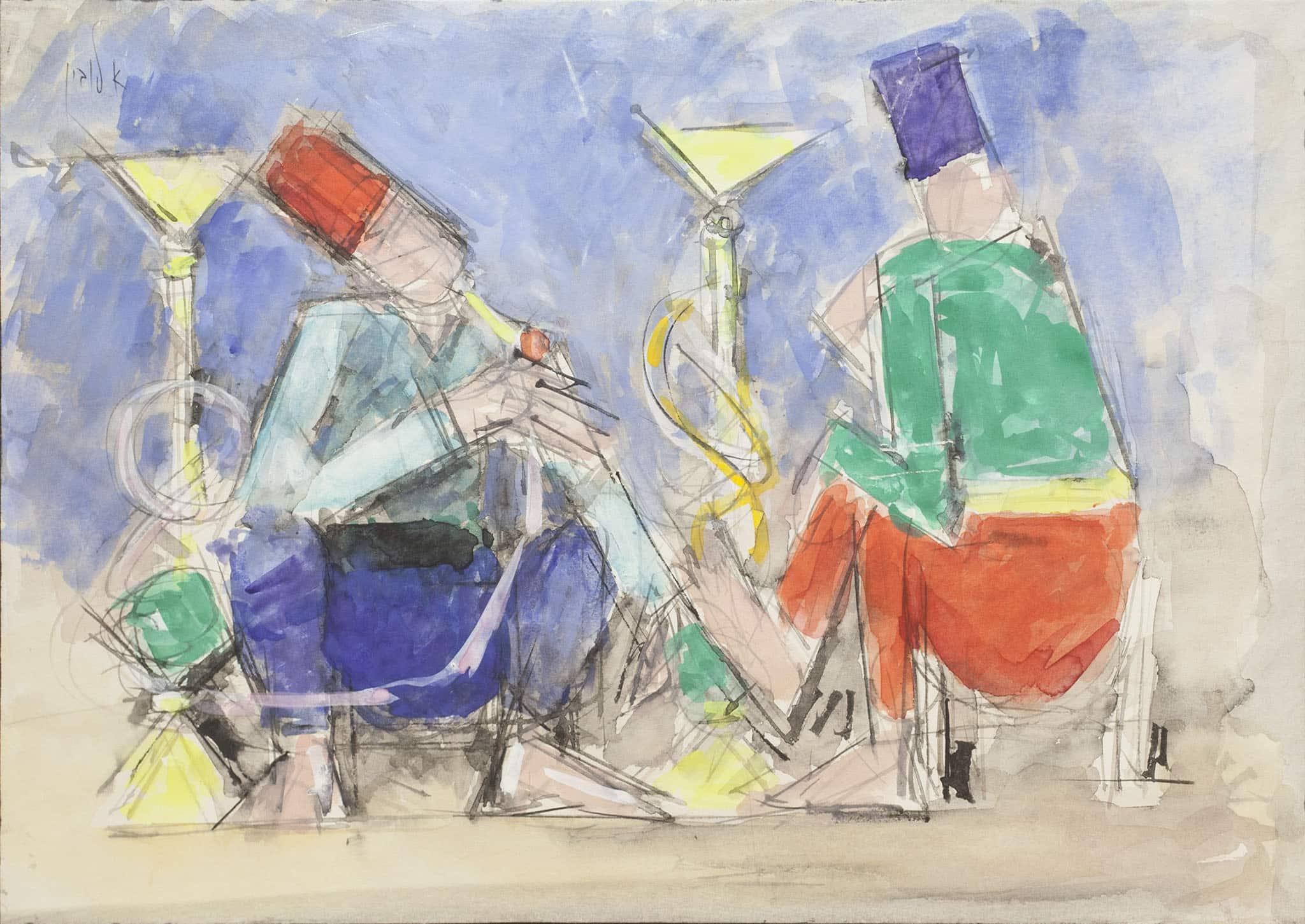"""אריה לובין, """"מעשני נרגילה"""",אקוורל, גואש ועיפרון על נייר מוצמד לבד, 48x34 ס""""מ"""