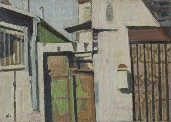 """שמואל טפלר, """"נוף אורבני"""", 1984, שמן על בד, 70x50 ס""""מ"""
