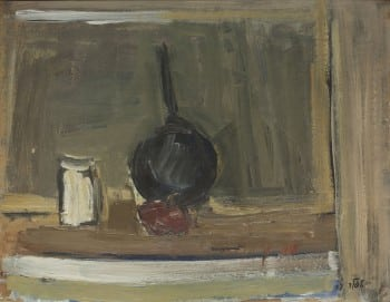 """שמואל טפלר, """"טבע דומם"""", 1957, שמן על קרטון, 40x31 ס""""מ"""