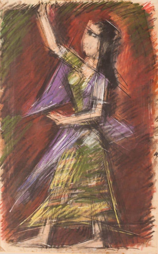 """אריה לובין, """"רקדנית"""", גירי פסטל על נייר, 69x43 ס""""מ"""