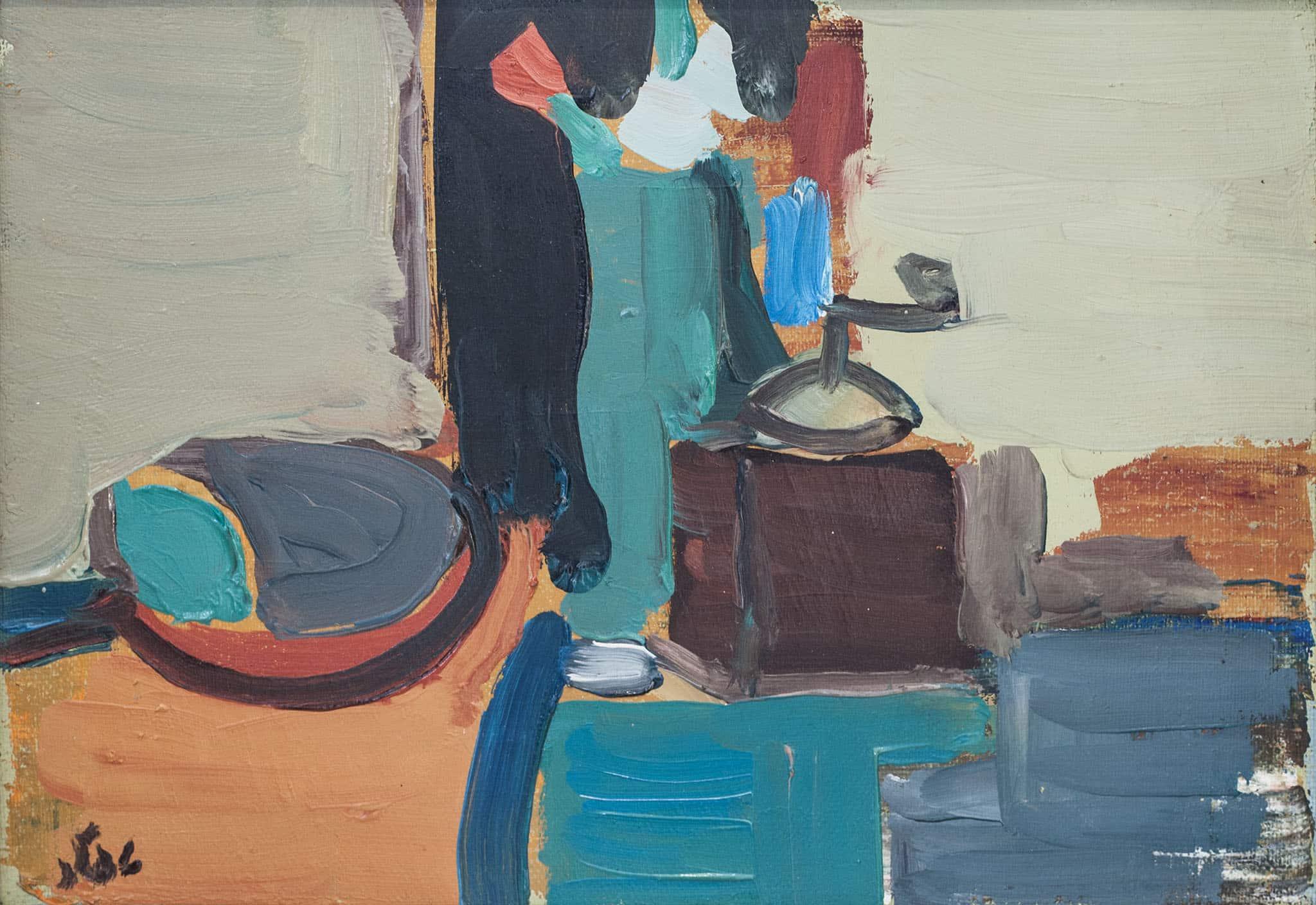 """שמואל טפלר, """"טבע דומם"""", 1984, שמן על לוח עץ, 32x22 ס""""מ"""
