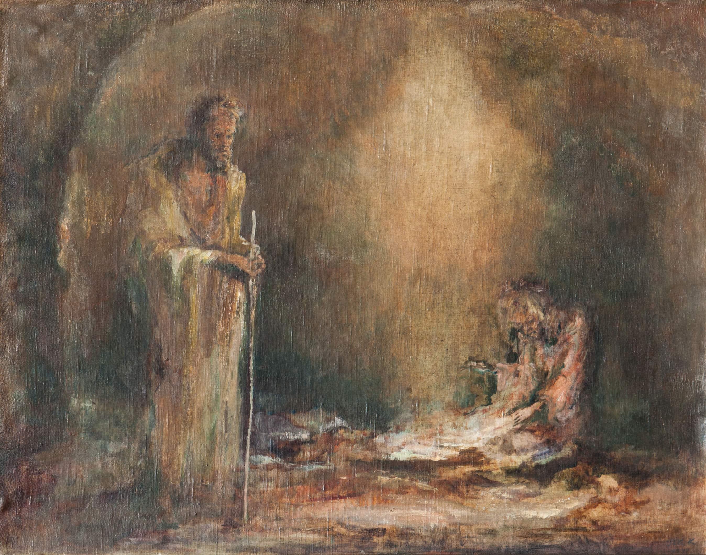 """אהרון אבני, """"שאול בעין דור"""", 1944, שמן על בד, 91x72 ס""""מ"""