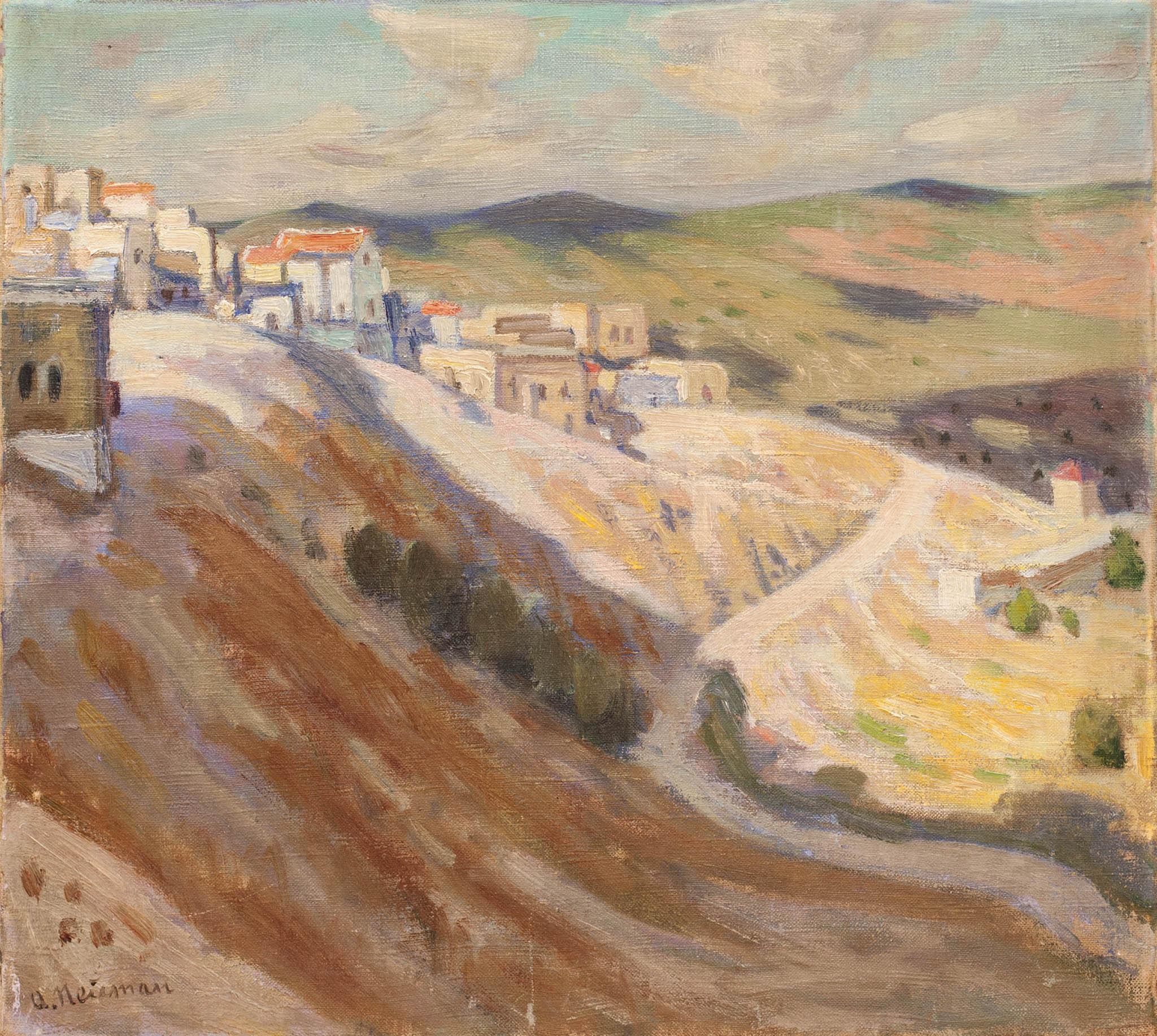 """אברהם נוימן, """"נוף צפת מספר 12"""", שמן על בד, 48x43 ס""""מ"""