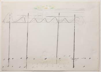 """נחום טבת, 1971, עפרונות צבעוניים על נייר, 35x24 ס""""מ"""