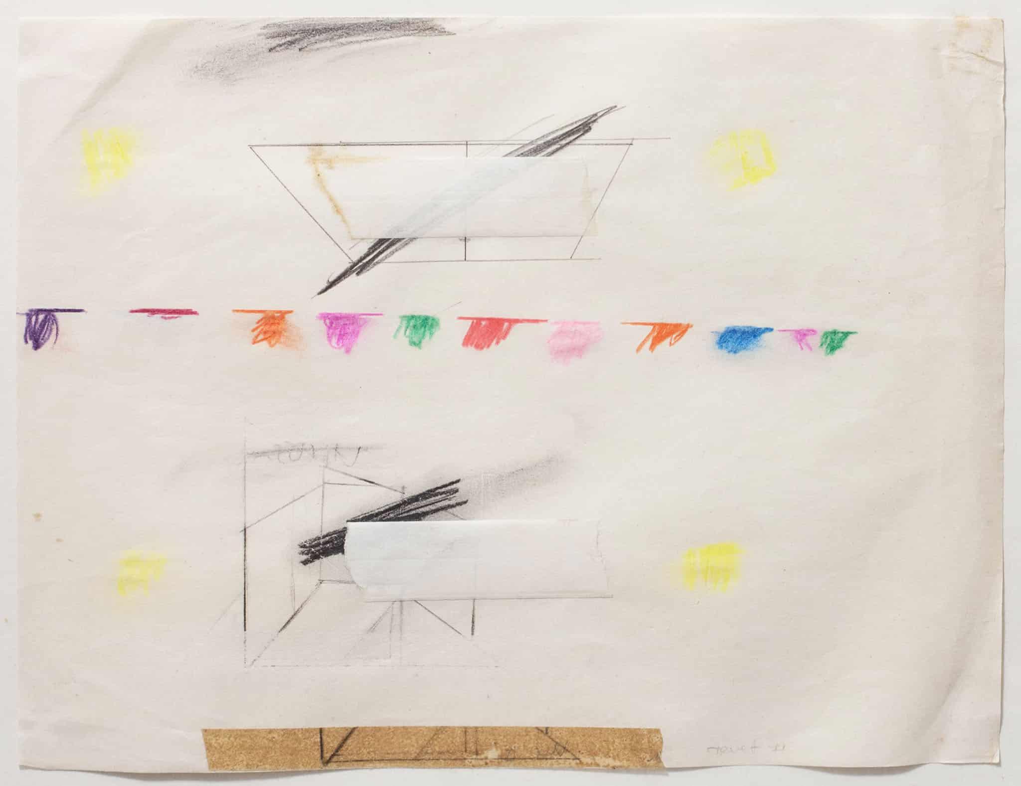 """נחום טבת, 1971, עפרונות צבעוניים על נייר, 28x21 ס""""מ"""