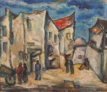 """איזידור אשהיים, """"רחוב בצפת"""", שמן על בד, 65x56 ס""""מ"""