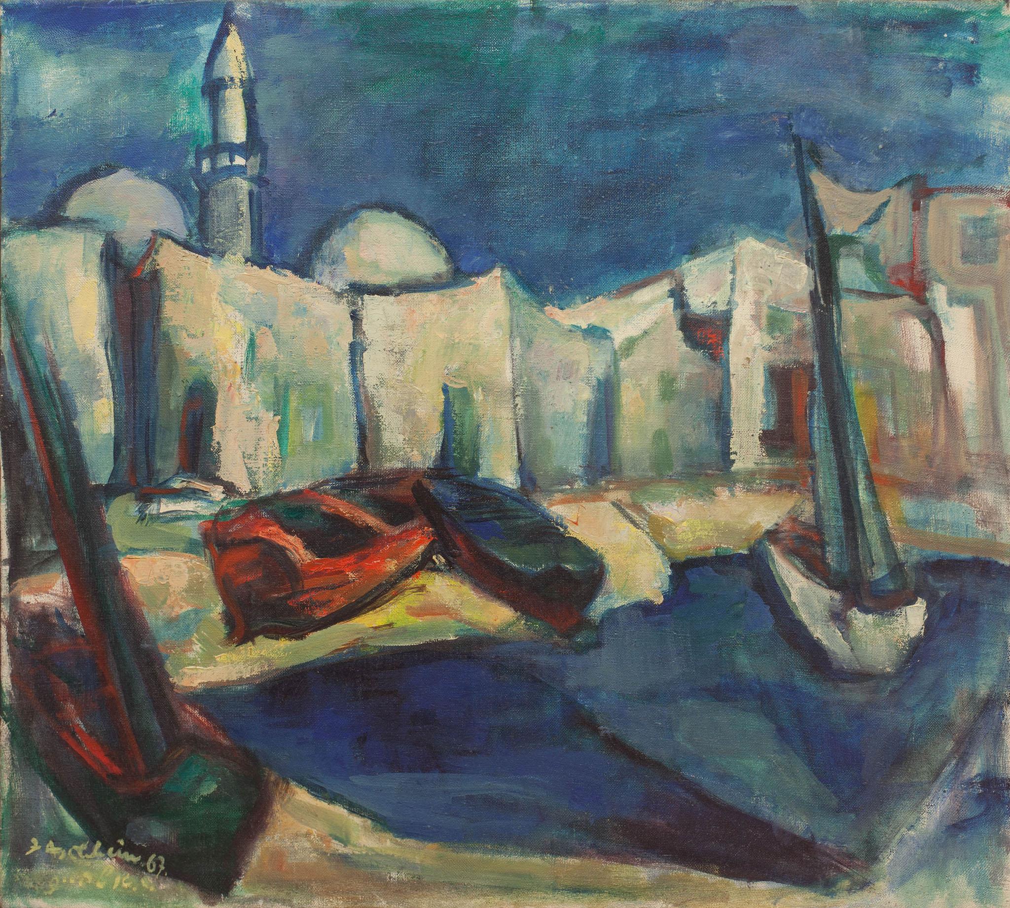 """איזידור אשהיים, """"עכו"""", 1965, שמן על בד, 60x54 ס""""מ"""