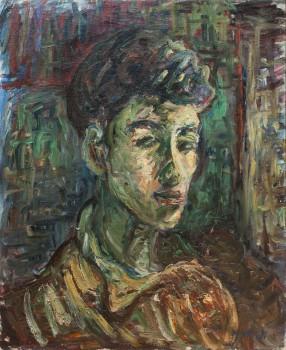 """אהרן אבני, """"הרועה הצעיר"""", שנות ה-40, שמן על בד, 45x55 ס""""מ מקור: אוסף אורן שץ"""