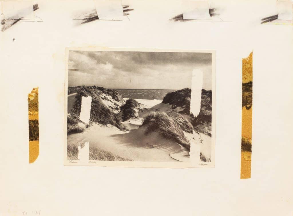 """נחום טבת, 1971, קולאז' על נייר, 25x34 ס""""מ"""