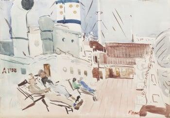 """מרדכי אבניאל,""""על סיפון ספינת צים"""", אקוורל על נייר, 49x34 ס""""מ"""